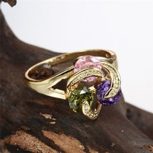 Jewelry - 14k Gold plated Multicolor Gemstone Ring NWT